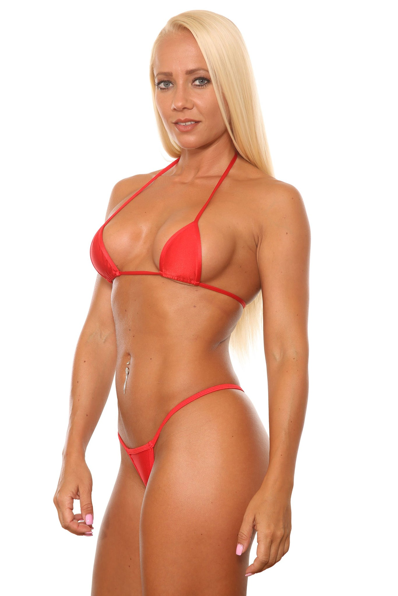 Red Low Rise Red Scrunch Thong-Stripper Clothes