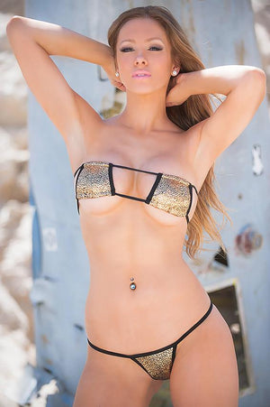 2 pc Sexy Metallic Gold Patch Bikini