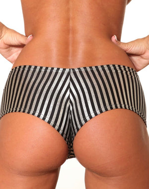 Metallic Silver Black Stripes Basic Booty Shorts