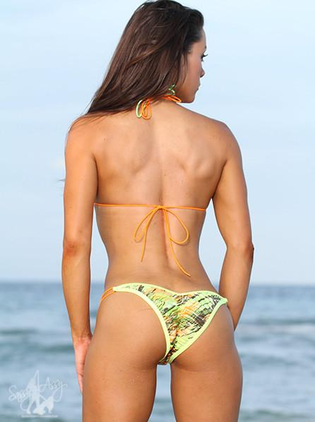Micro Green Orange Print String Bikini