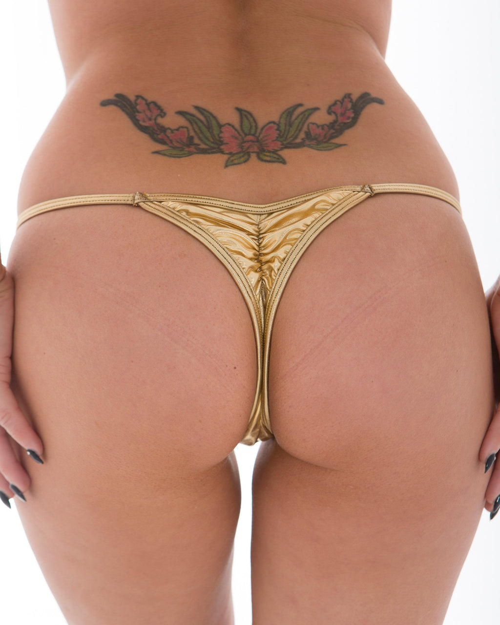 Gold Mini Scruch Thong Bottom-Stripper Clothing