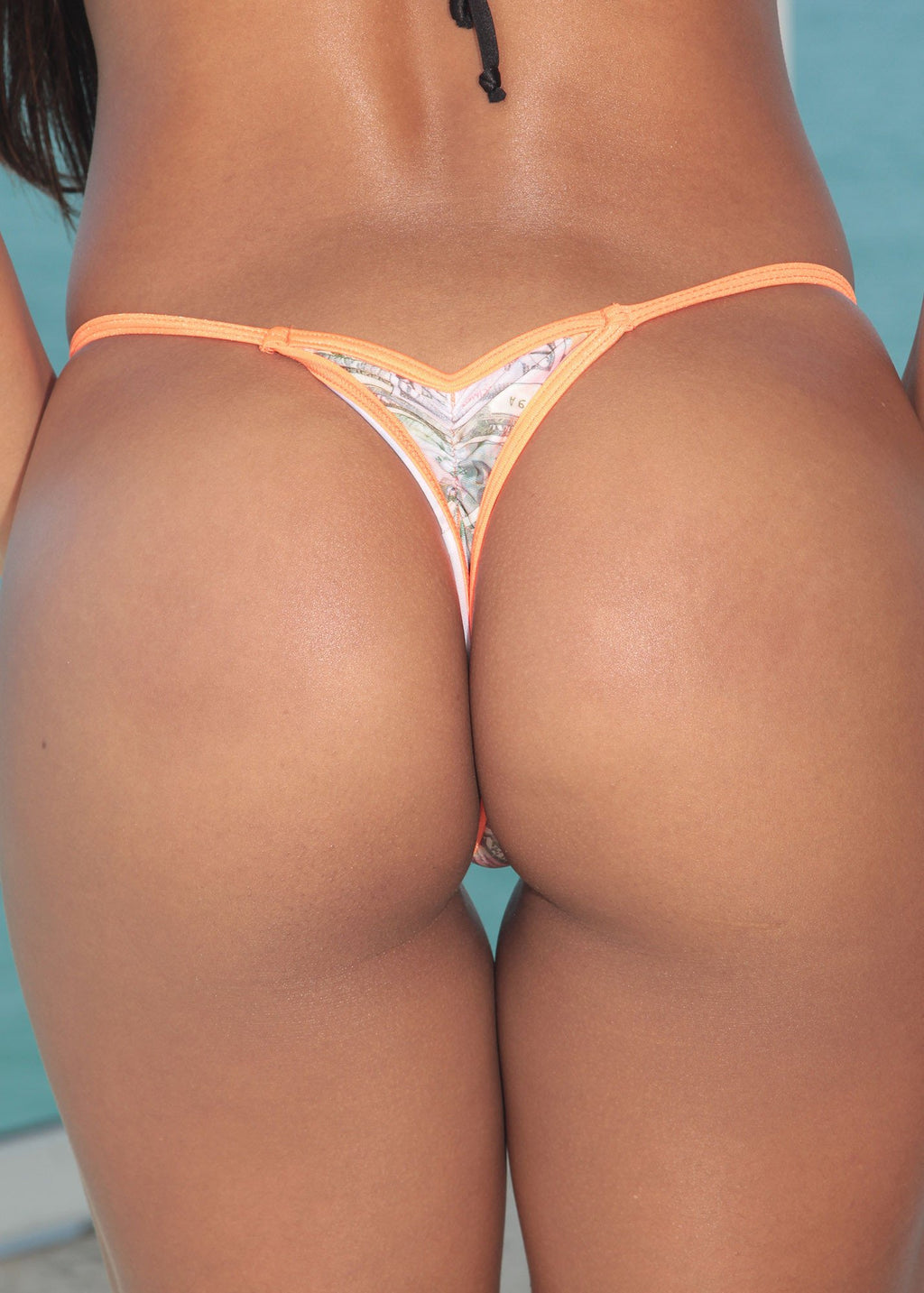Money Print-Orange Trim Mini Scrunch Thong Bottom-Stripper Clothing