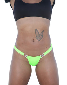 Neon Green Stripper Break Away Thong With Czech Bling Clasp