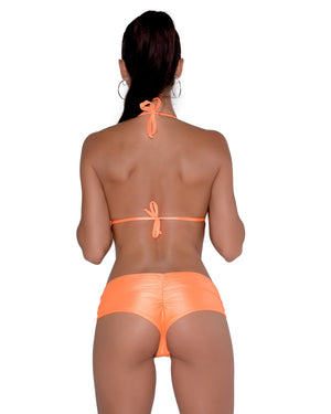 Neon Orange Scrunchie Booty Shorts