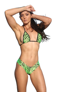 Neon Green Zebra Print Two Piece Short Set