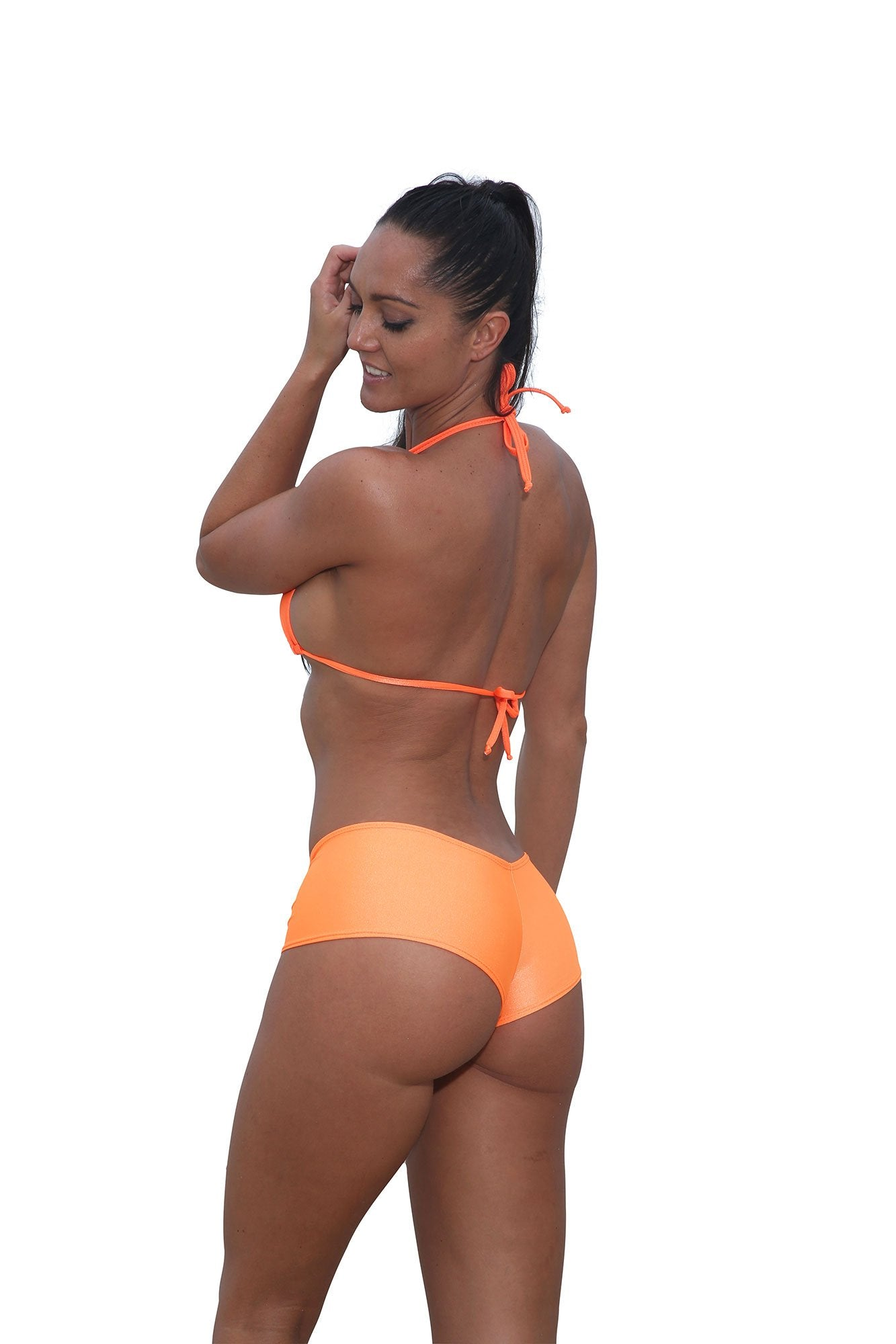 Orange Cheeky Booty Shorts