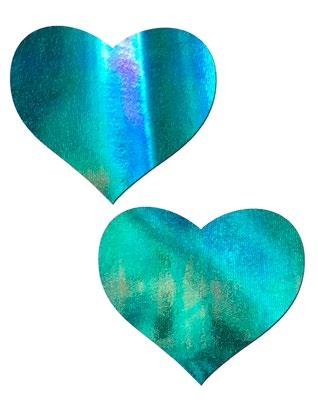 2pc Iridescent Blue Heart Pasties