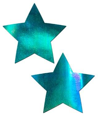 2pc Iridescent Blue Star Pasties