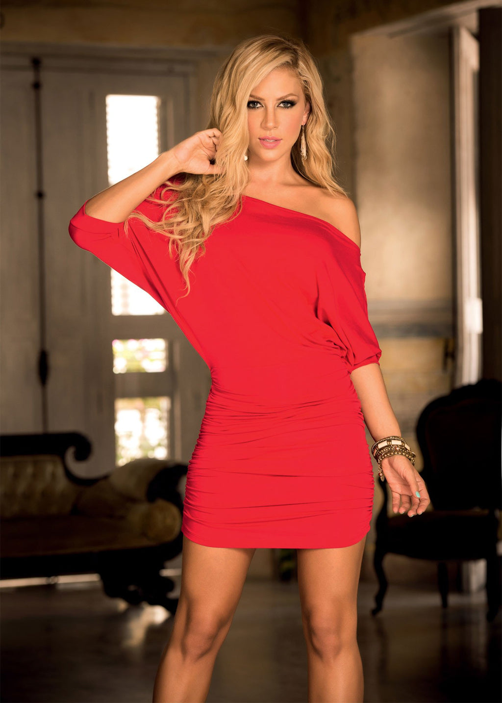 Red Sexy Light Summer Off The Shoulder Mini Dress