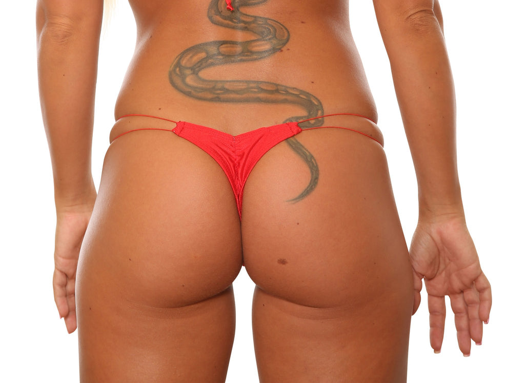 Red Low Rise T-Back String Thong Stripper Thongs