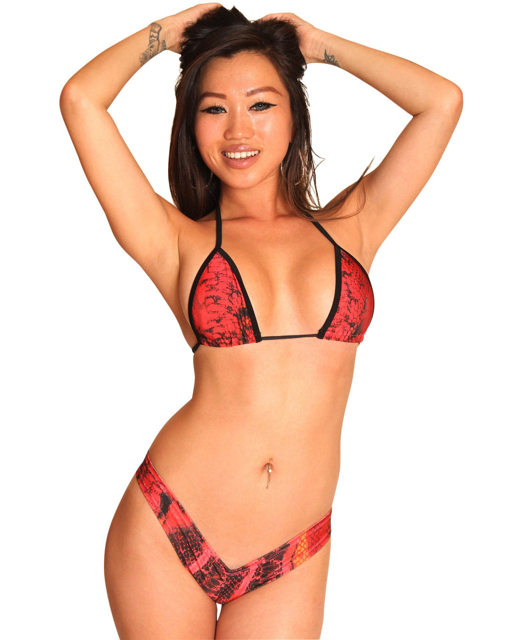 Red Snake Booty Shorts Set