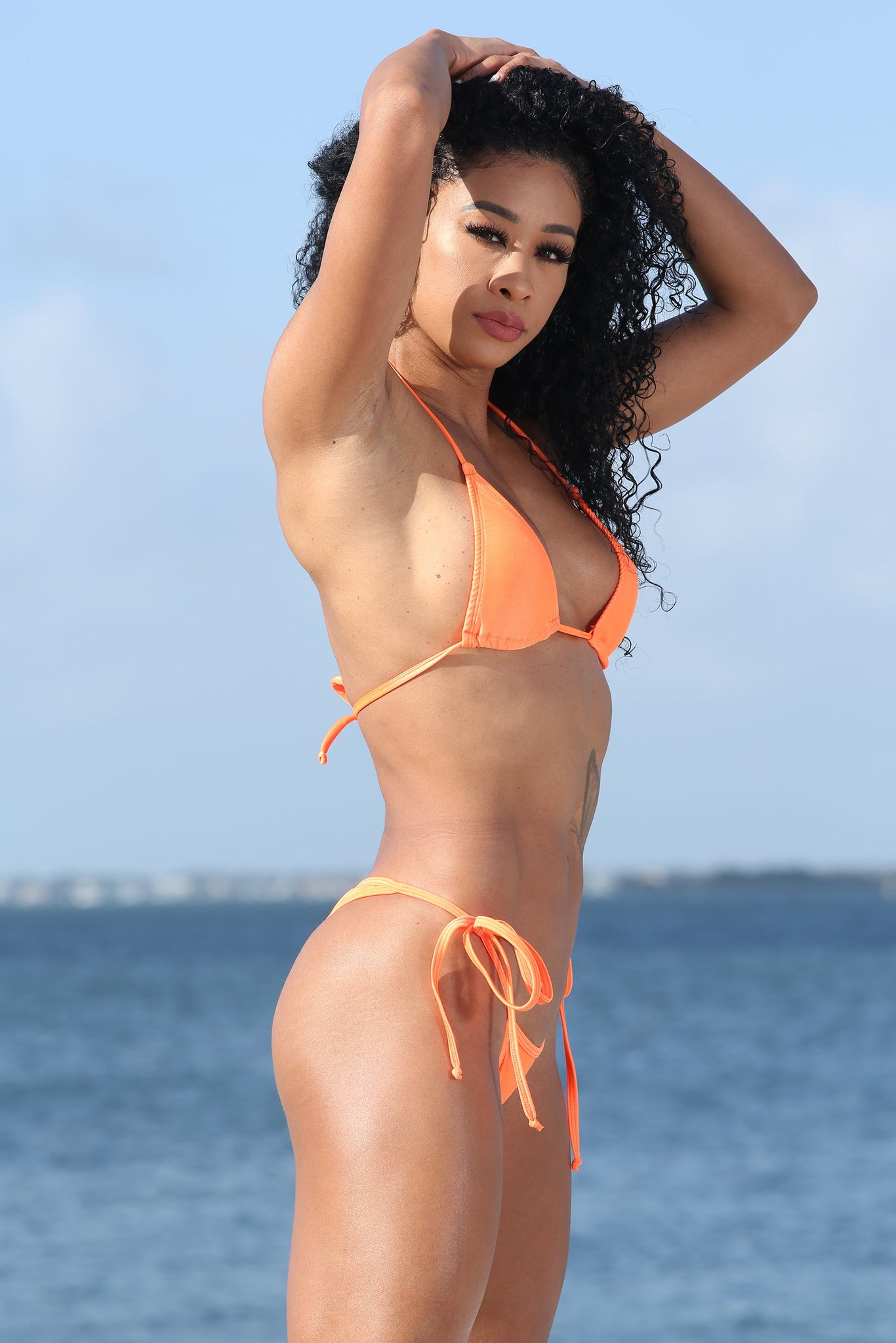 Orange Bikini Set With Whale Tail Thong Bottom
