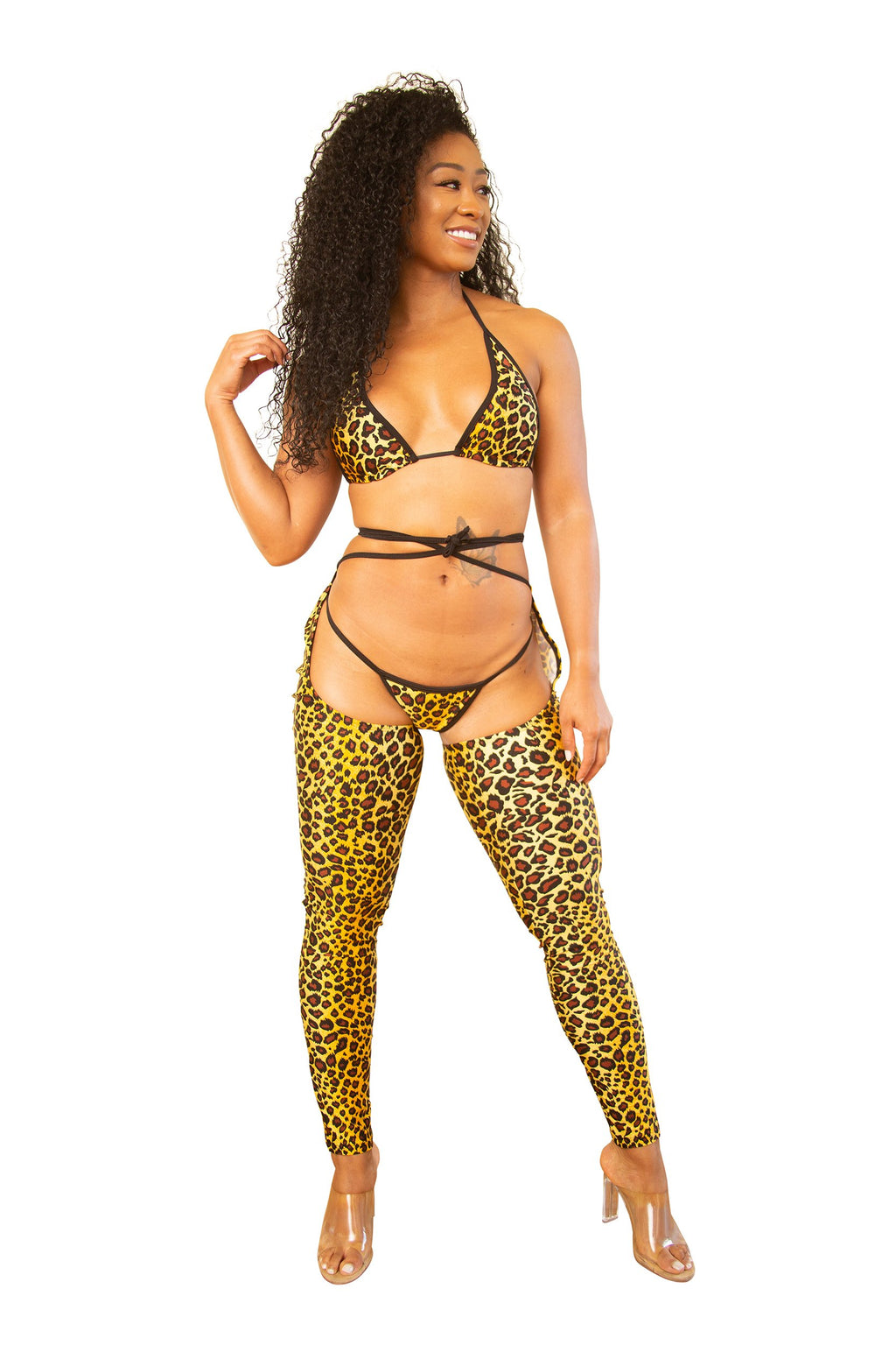 Sassy Custom Leopard Chap Thong Set