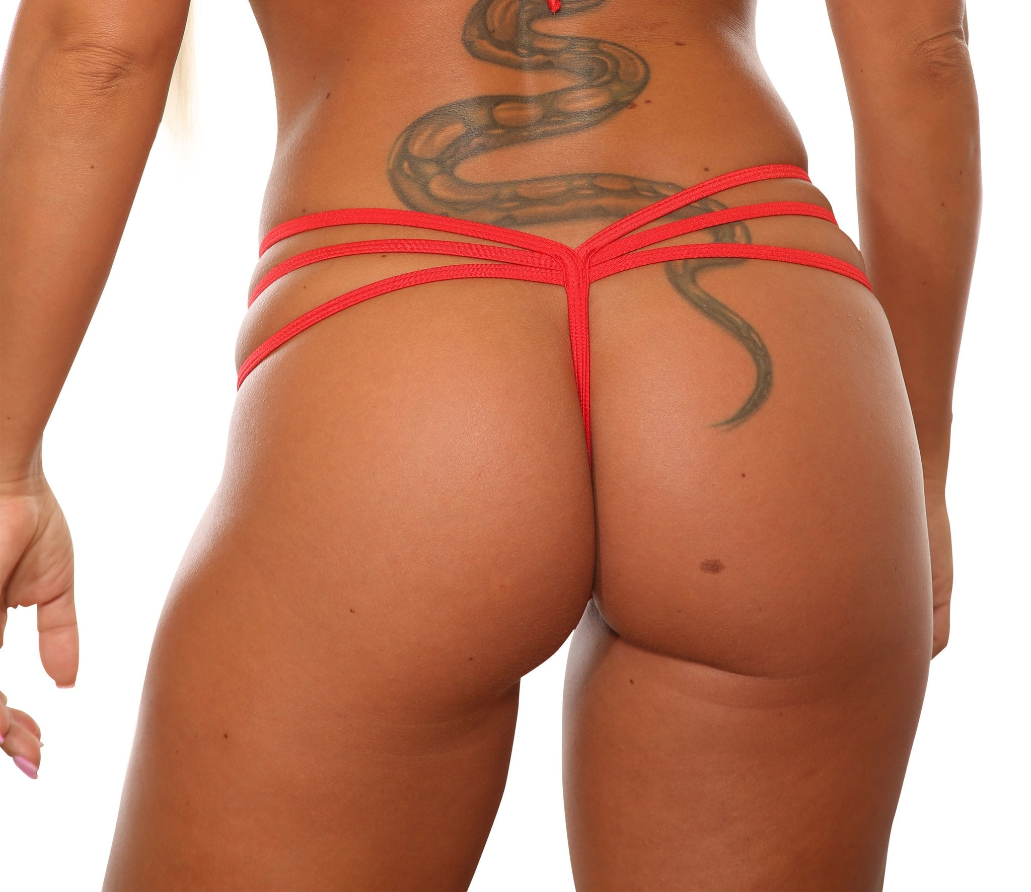 Red Low Rise Triple Band V Thong-Stripper Clothes