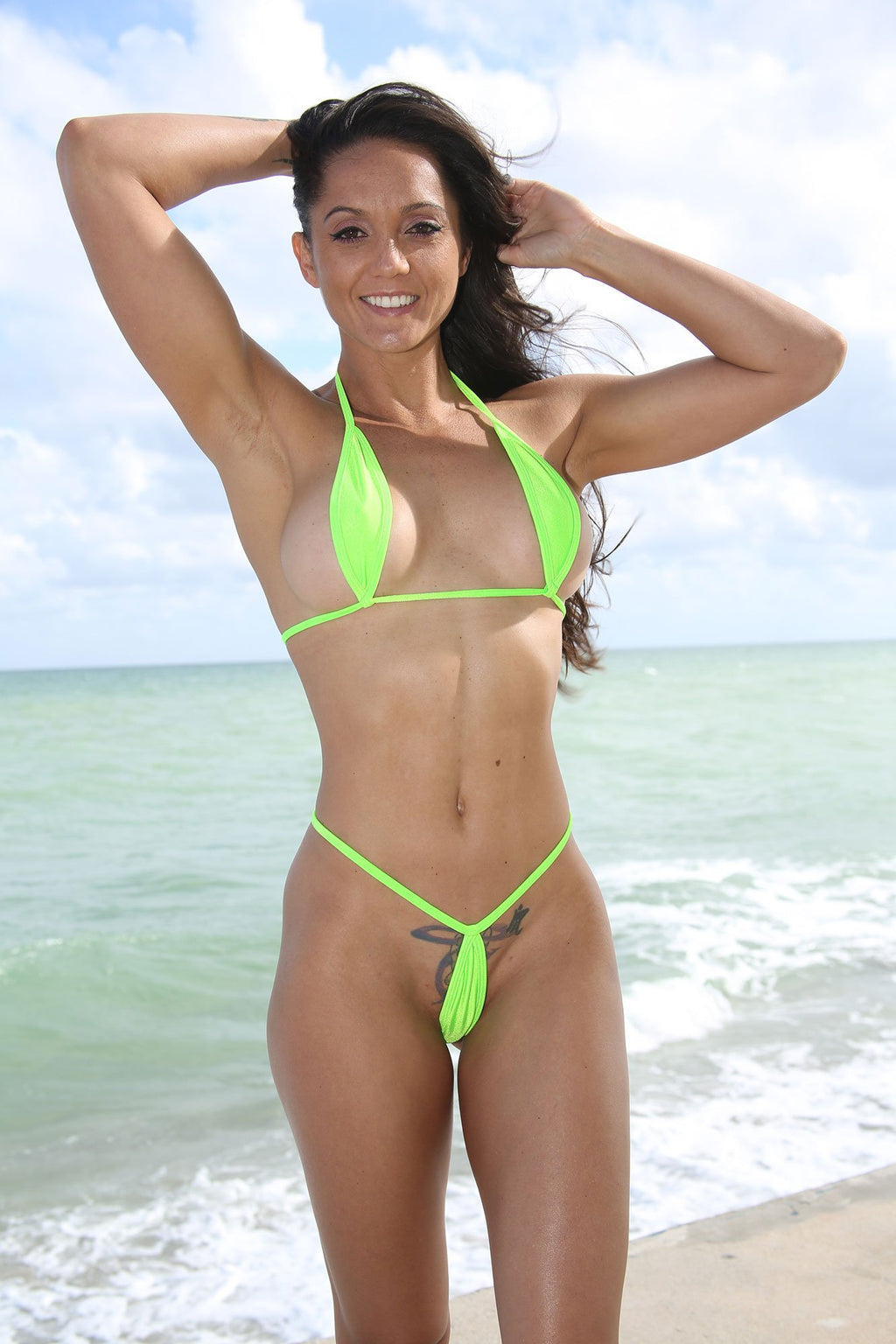 Dare To Be Bare Solid Neon Green Extreme Teardrop G-String Bikini