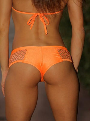 Sexy Orange Net Pole Dancers Booty Short Set