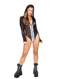Black Pink Sheer Hooded Romper with Zipper Closure And Snake Details Rave Wear