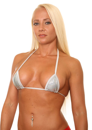 Silver Holo Mini Triangle Stripper Bikini Top