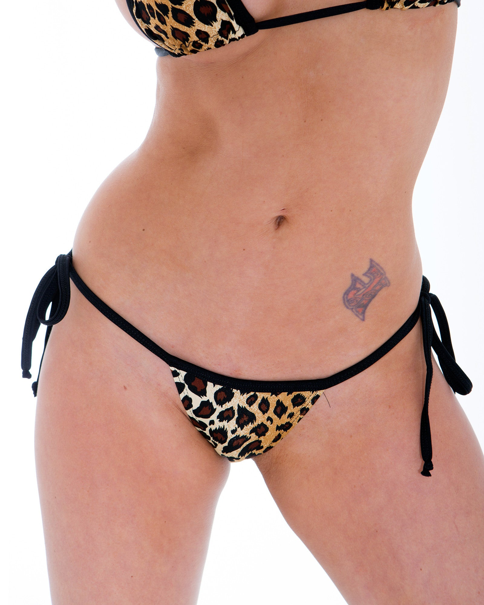 Leopard Tie Side Full Scrunch Thong Bikini Bottom