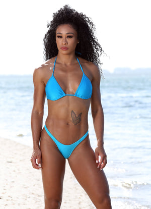 Turquoise Bikini Set With Cheeky High Leg Bottom