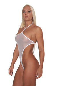 White Metallic Sheer Mesh Monokini - Stripper Clothing