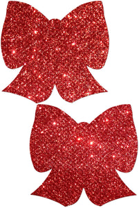 Ruby Red Glittering Bow Nipple Pastease