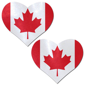 Canadian Flag on Heart Nipple Pasties