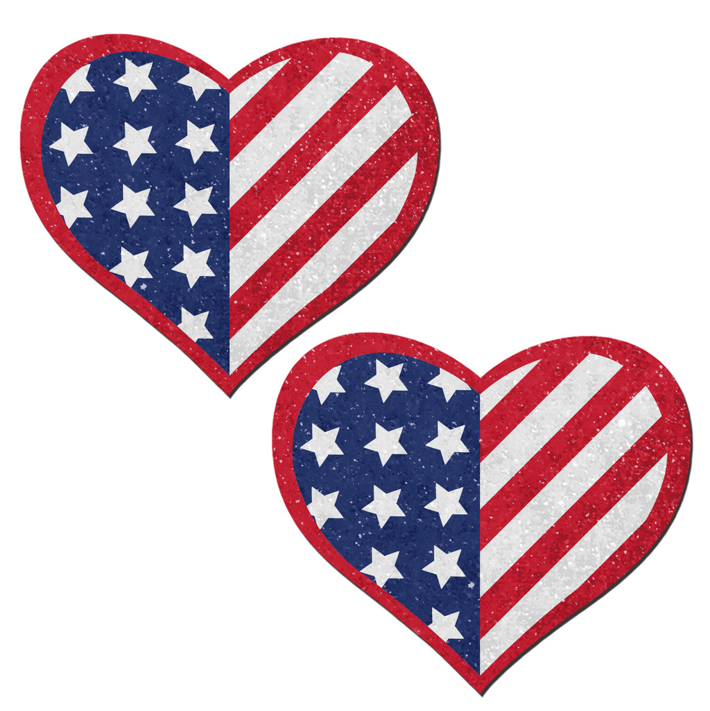Glittering Patriotic USA Red, White & Blue Beating Heart Nipple Pasties