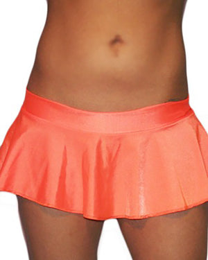 Sexy Neon Orange Lycra Extreme Ruffle Mini Dancer Skirt
