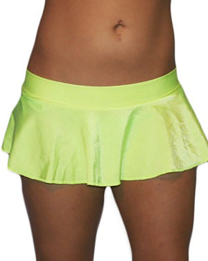 Sexy Neon Green Lycra Extreme Ruffle Mini Dancer Skirt