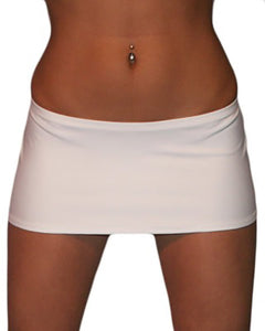 7 1/2 Inch Curve Hugging Sexy White Mini Dancer Skirt