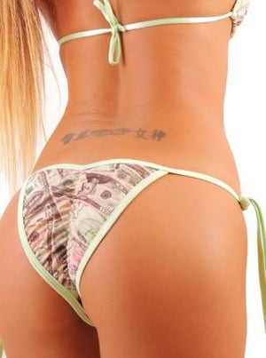 Money Print Tie Side Full Scrunch Bikini Bottom