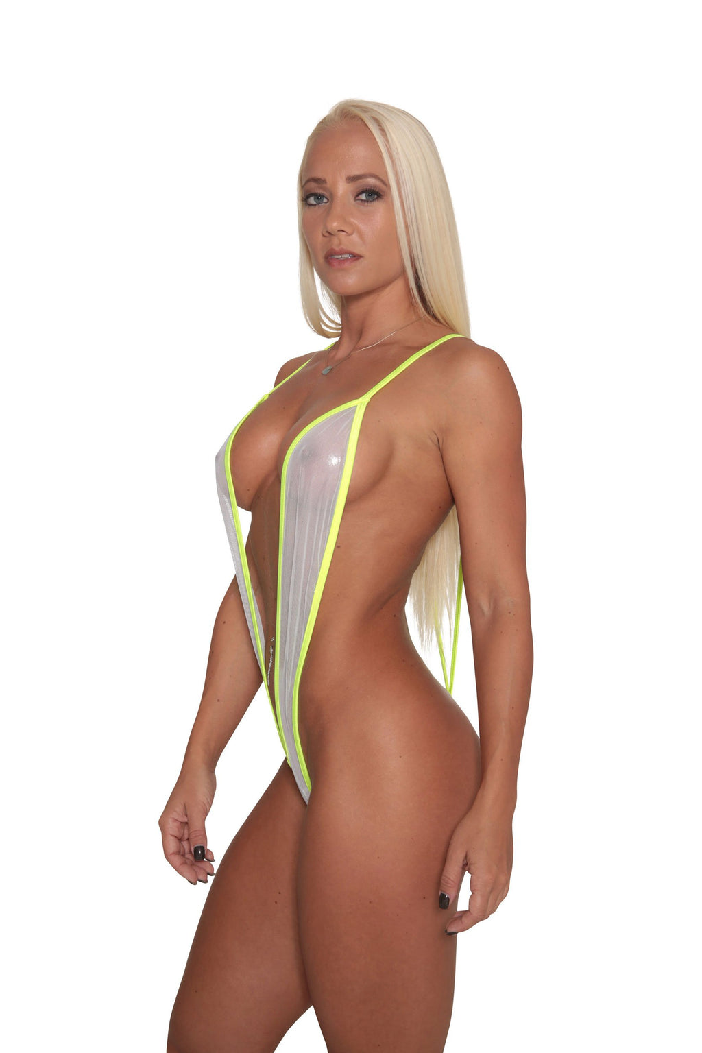 White Metallic Sheer Mesh Slingshot Stripper Clothing