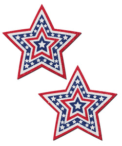 Glittering Patriotic USA Red, White & Blue Beating Star Nipple Pasties