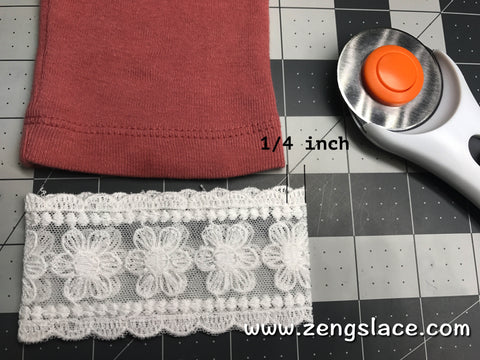 Cute the lace and leave 1/2 inches sewing allowance