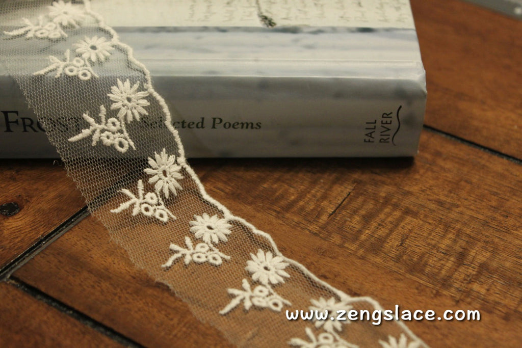 White mesh lace trim embroidered with flowers and white edging, lace edging, floral lace, 1 1/2 inches wide, lace by the yard/EE-37