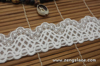 Off-White cotton lace ribbon with floral embroidery on mesh lace trim, scalloped edging, 1 1/2 inches wide, lace by the yard. LR-11