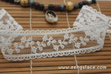 Off-White lace ribbon with floral embroidery on mesh lace trim, bridal lace top, scalloped lace, 1 1/4 inches wide, lace by the yard. LR-06