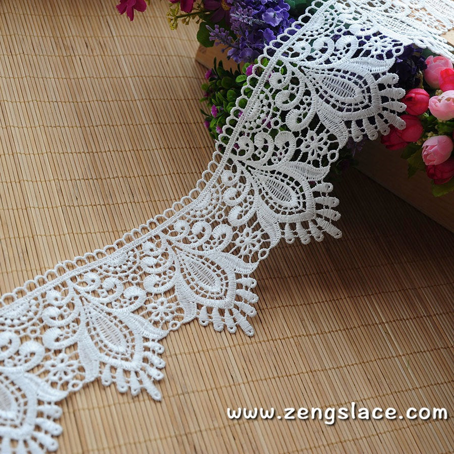 Venise lace trim embroidered with vintage Victorian patterns/Regency Dress/Wide Lace Trim/Guipure Lace/White Wedding Lace by the yard/VL-23