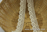 Beige cotton crochet lace with single edge, 1 inch wide, CL-04