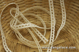 Beige cotton crochet lace trim with single edge, 1/4 inches wide, CL-06-X