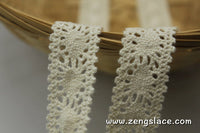 Beige cotton crochet lace trim, 3/4 inches wide, CL-13-X