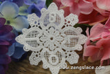 White cotton lace applique, snowflake applique with numbers embroidered, LA-8-1