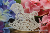 Beige cotton lace applique, rocking horse applique, LA-9-1