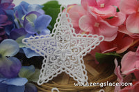 White lace applique pair/five-pointed star applique/Cute Patches/Lace Medallion/Cotton Patch/priced for a set of two pc/LA-12-1