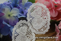 White lace applique pair/Teddy bear applique/Lace Medallion/Cute Patches/3 inch patch/zengslace/Cotton Patch/priced for two pieces/LA-15-1