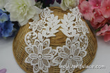 White bridal cotton lace applique, dangling flower applique with tussel, LA-16-1