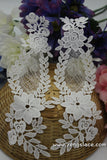Bridal Lace Applique Pair/Off-white Alencon lace Applique/Boho Wedding Dress Applique/Prom Dress Applique/Luxury Applique/LA-17-1