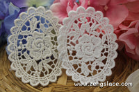 White/Beige cotton oval lace applique, rose flower applique, LA-20-x