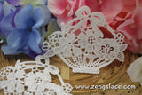 Ivory lace applique, flower basket applique, LA-21-1
